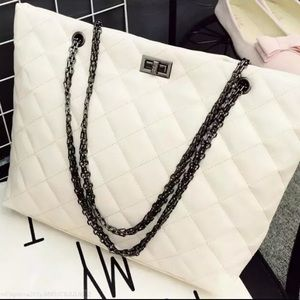 Chain White Vegan Leather Quilted Shoulder…